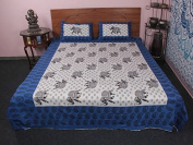 Traditional 3 Pc Elephant Printed Ethnic Cotton Bedding Set Cum Bed Cover
