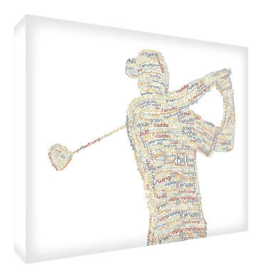 Feel Good Art Gallery Wrapped Box Canvas in Typographic Golfer Design (30 x 20 x 4 cm, Small, Neutral Tones)