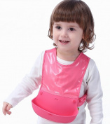 Unisex Baby Waterproof Drooler Silicone Bib Eat and Play Smock Toddler Apron With Wide Food Catcher Pocket