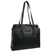 Ladies Black LEATHER Grab Work Bag Handbag by GiGi Shoulder 70's Classic