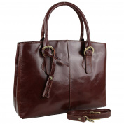 Ladies Italian Vintage Brown LEATHER Grab Bag Handbag by Visconti Tote Strap