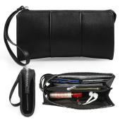 Becko Women Wallet and Purse Leather Long Clutch Butterfly Handbag Card Holder - Black