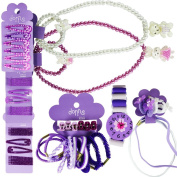 COM-FOUR ® 71 Piece Girls Hair Jewellery Set Purple