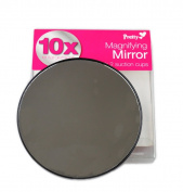 Magnifying Mirror 10 x Magnify Enlargement Suckers Compact Cosmetic Handbag