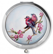 Vanroe 'Cherry Blossom & Birds' Designer Compact Mirror in Gift Box - Magnified, Engravable, Anniversary & birthday present
