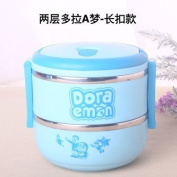 Cute kitty warm insulation boxes stainless steel soup bucket three students multilayer sealing single and double cartoon children 123 blue