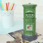 Postal Savings cylinder plastic piggy bank money pot oversized ornaments creative birthday gift to send men and women cute coin green