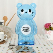 Children's cartoon piggy piggy bank oversized transparent plastic coin piggy bank creative cute inch sheet of plastic cat