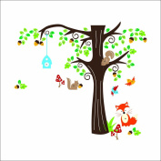 XXL Jungle forest animal with fox, birds and squirrels playing on colourful tree wall tattoo wall sticker for kids nursery, multi-coloured, X Large
