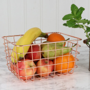 Copper Rectangular Multi-Purpose Storage Basket - Perfect For Fruit or Vegetables - W24 x H12 x D19cm