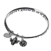 AERODYNAMICALLY, THE BUMBLE BEE SHOULDN'T BE ABLE TO FLY, BUT THE BUMBLE BEE DOESN'T KNOW IT SO IT GOES ON FLYING ANY WAY Poetry inscribed bangle