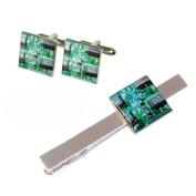 Quality Green Circuit Board Square Cufflinks & Tie Clip