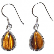 Tiger's Eye & 925 Sterling Silver Clip On Earrings