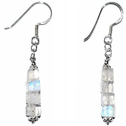 Rainbow Moonstone & 925 Sterling Silver Clip On Earrings