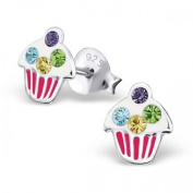 Cute Cupcakes Stud Earrings with Sparkly Crystals