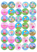 30 x Peppa Pig George Party Edible Rice Wafer Paper CupCake Toppers CUT OUT w1