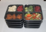 Meal Prep 3 Compartment Containers 10 Pack