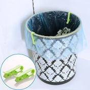EQLEF® 10 Pieces Plastic Clip Clamp Holders, for Garbage Can Waste Bin Trash Can Junk Bag