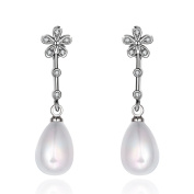 Rhodium Plated Flower Stud with Crystal and a Pearl Drop Wedding Bridal Occasion Earrings