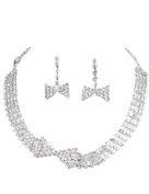 Clearbridal Women's Rhinestones Necklace Earrings Sets Bridal Jewellery for Wedding Prom and Evening Party