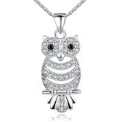 ZiZi Jewellery Retro Owl Pendant Necklace with Luxury Austrian Cubic Zirconia ~ Platinum Plated ~ ZiZi Gift Box
