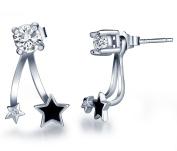 Infinite U 925 Sterling Silver Cubic Zirconia Jackets Earring Women/Girls Black Star Studs