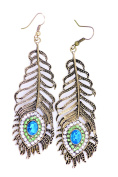 Lizzyoftheflowers. Vintage retro style7cm long peacock eye feather dangle earrings with crystal