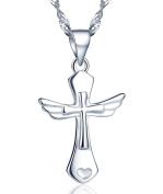 Infinite U Classic Girls/Women Angel Wings Cross Pendant Necklace made of 925 Sterling Silver
