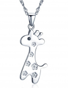 Infinite U 925 Sterling Silver Cute Giraffe Pendant Girls/Women Necklace with 43cm Chain