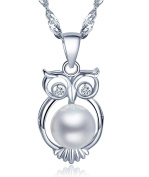 Infinite U 925 Sterling Silver Freshwater Cultured 8mm Pearl Owl Pendant Women Necklace with 45cm Chain