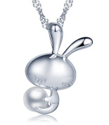 Infinite U 925 Sterling Silver Cute Bunny/Rabbit 6mm Freshwater Cultured Pearl Pendant Necklace for Women/Girls