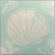 White Seashell Starfish and Coral on Teal Hot Plate Glass Trivet