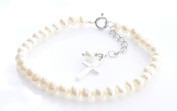 Ivory First Holy Communion Bracelet - Freshwater Pearl and Sterling Silver Cross Charm