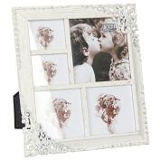 Vintage Style Ornate Cream Metal Multi Photo Frame New Boxed