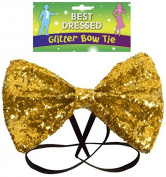 BOW TIE GLITTER 12 X 7CM GOLD