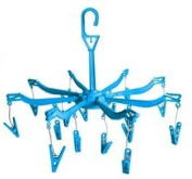 Clothes Dryer Hanger With Pegs Pack Of 2 8 Arms 16 Pegs Socks Foldable Indoor - Blue