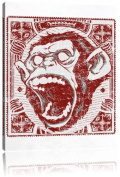 Screaming monkey black canvas, XXL Pictures completely framed with large wedge frames, art print on wall picture with frame, cheaper than painting or an oil painting, not a poster or billboard, size