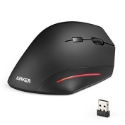 Anker Ergonomic USB 2.4G Wireless Vertical Mouse with 3 Adjustable DPI Levels 800 / 1200 / 1600 and Side Controls - Black