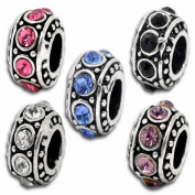 Souarts Silver Colour Colourful Rhinestone Spacer European Beads for Charms Bracelet Pack Of 10Pcs