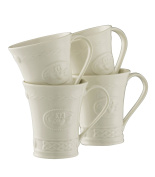 Belleek Pottery Claddagh Mugs, White, Set of 4