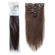 Emosa 7Pcs 70g 100% Real Full Head Remy Clip In Human Hair Extensions #4 Medium Brown Silky Soft