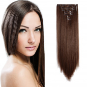 Onedor 50cm Curly or 60cm Straight Full Head Kanekalon Futura Heat Resistance Hair Extensions Clip on in Hairpieces 7pcs 140g
