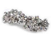 Women's Bridal Wedding Hair Barrette, Silver & AB Crystals