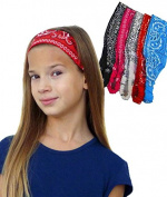 5 Paisley Bandana Headbands w/ Elastic- Yoga Headwrap Hairband By CoverYourHair®