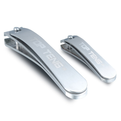 TOP TENG® Deluxe Brushed Stainless Steel Sharpest Nail Clipper Set in Gift Box   Fingernail + Thick Toenail Clippers   Perfect Nail Cutter for Men & Women - Makes a Great Gift
