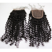 Rossy & Nancy Brazilian Small Curly Virgin Hair Sexy Curly Weave Human Hair Swiss Lace Top Closure 20cm - 46cm in Natural Colour