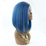 WOB Hair 130 Dneisty Bleach Knots Lace Front Wig Blue Ombre Bob Wig Human Hair 30cm
