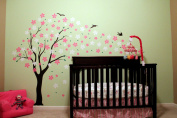 """Pop Decors """"Black/Pink/White Go Right Drifting Flowers and Birds"""" Beautiful Wall Stickers for Kids Rooms"""