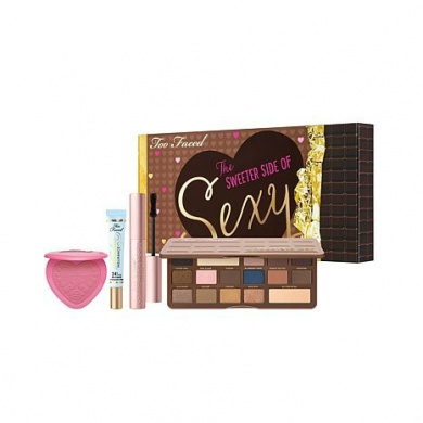 Too Faced Deluxe Makeup Collection Chocolate Bar Eye Shadows. Sex Mascara, Shadow Insurance, Love Flush Blush