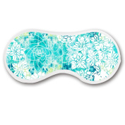 Promini Aqua White Flowers Sleep Mask with Strap Lightweight Comfortable Eye Mask for Bedtime or Relaxation, Travel, Shift Work, Meditation